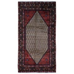 Hand Knotted Persian Hamadan Camel Hair Wide Runner Rug
