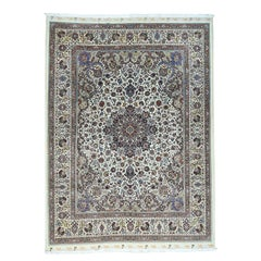 Hand Knotted Persian Mashad Saberi Wool and Silk 400 Kpsi Rug