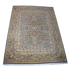 Hand Knotted Persian Silk and Wool Floral All-Over Area Rug Carpet