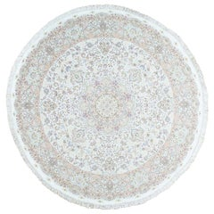 Hand Knotted Persian Tabriz Round Wool and Silk Oriental Rug