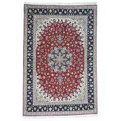 Hand Knotted Persian Tabriz Wool and Silk 400 KPSI Oriental Rug