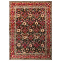 Hand Knotted Persian Tehran-Design Rug with Floral Design in Red and Green
