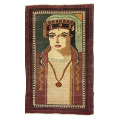 Hand Knotted Pictorial King of Pop Vintage Wool Persian Balouch Throw Rug