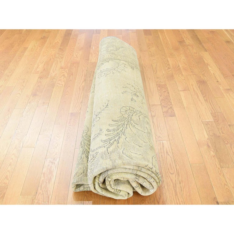 Hand Knotted Pure Wool Painted Vintage Tabriz Oriental Rug For Sale 4