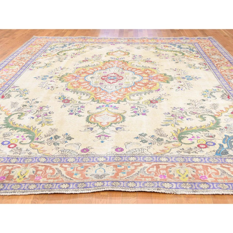 Afghan Hand Knotted Pure Wool Painted Vintage Tabriz Oriental Rug For Sale