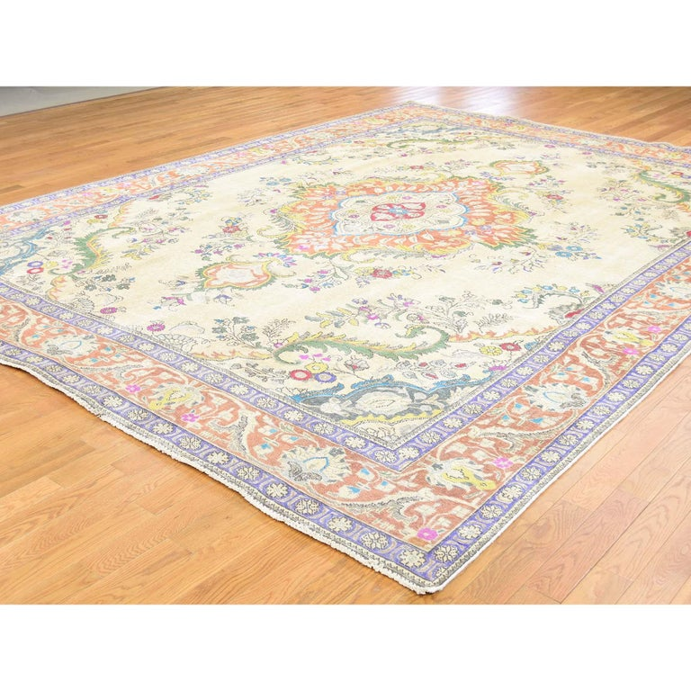 Hand-Knotted Hand Knotted Pure Wool Painted Vintage Tabriz Oriental Rug For Sale