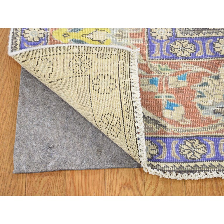 Hand Knotted Pure Wool Painted Vintage Tabriz Oriental Rug In New Condition For Sale In Carlstadt, NJ