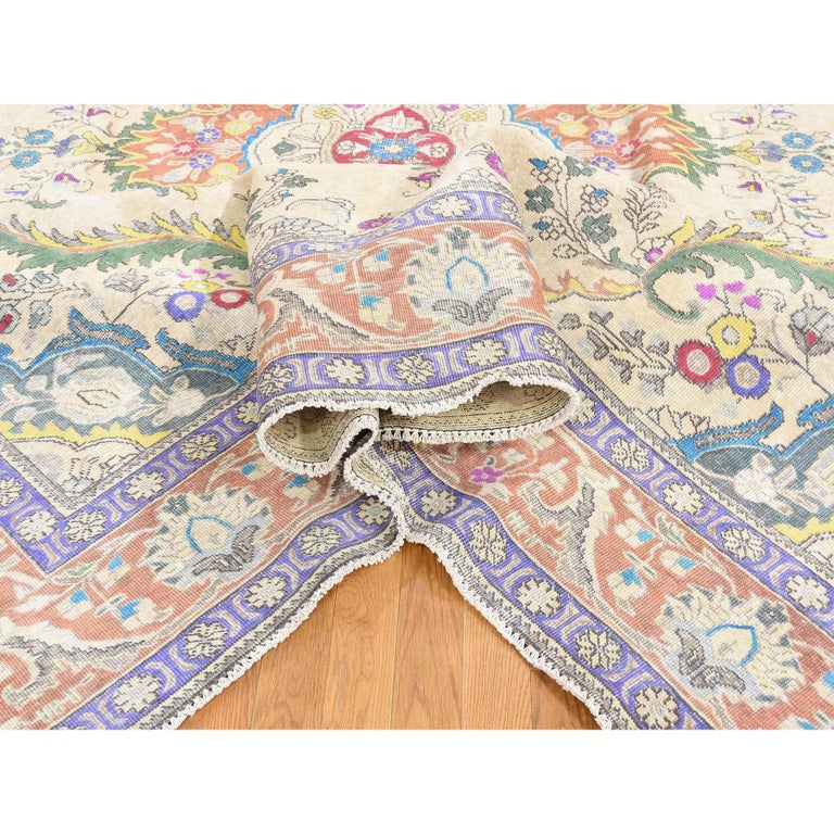 Contemporary Hand Knotted Pure Wool Painted Vintage Tabriz Oriental Rug For Sale