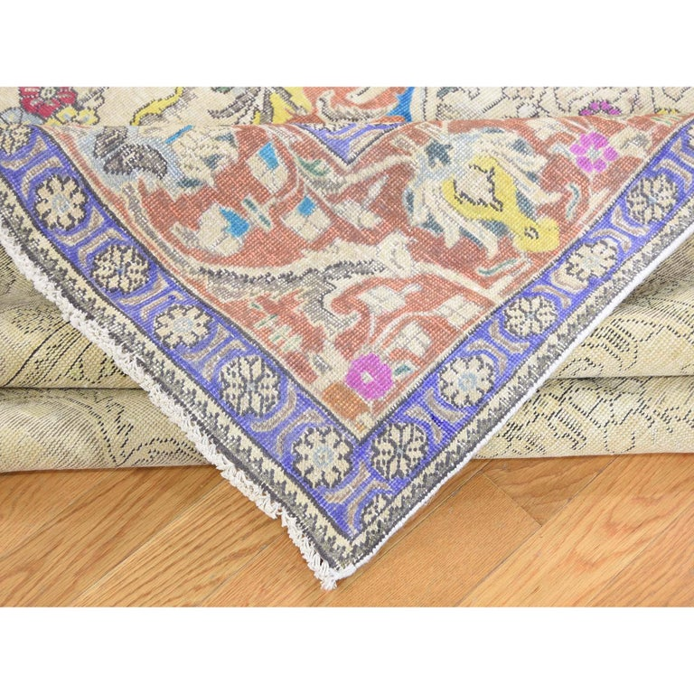 Hand Knotted Pure Wool Painted Vintage Tabriz Oriental Rug For Sale 1