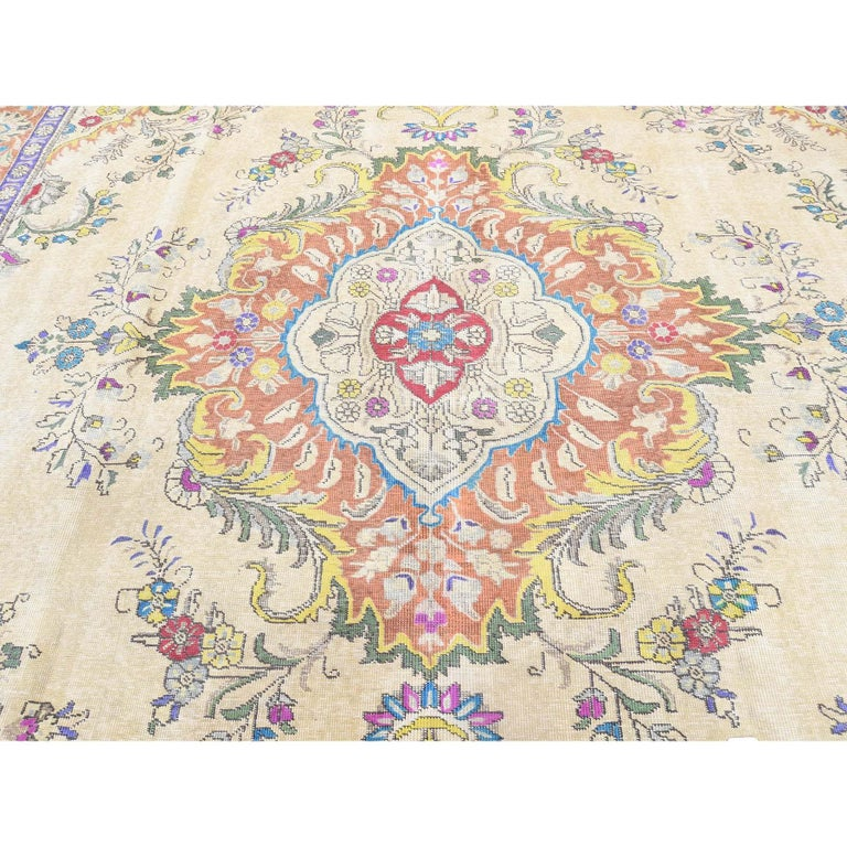 Hand Knotted Pure Wool Painted Vintage Tabriz Oriental Rug For Sale 3