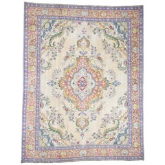 Hand Knotted Pure Wool Painted Vintage Tabriz Oriental Rug