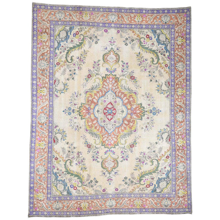 Hand Knotted Pure Wool Painted Vintage Tabriz Oriental Rug For Sale