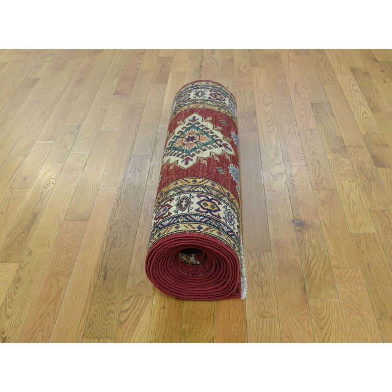 Hand Knotted Pure Wool Super Kazak Oriental Wide Runner Rug For Sale 4