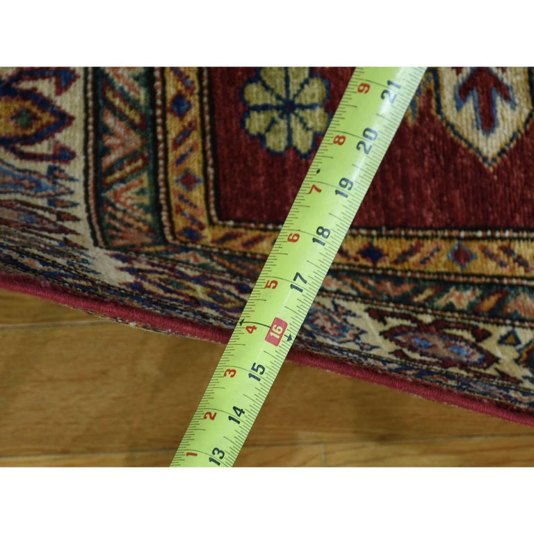 Hand Knotted Pure Wool Super Kazak Oriental Wide Runner Rug For Sale 5