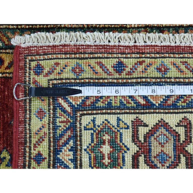 Hand Knotted Pure Wool Super Kazak Oriental Wide Runner Rug For Sale 6