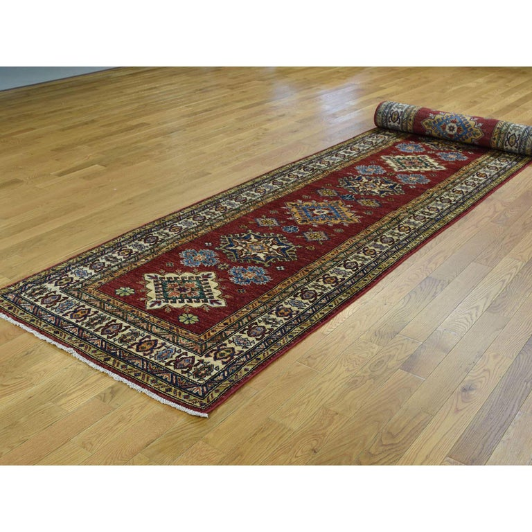 Afghan Hand Knotted Pure Wool Super Kazak Oriental Wide Runner Rug For Sale