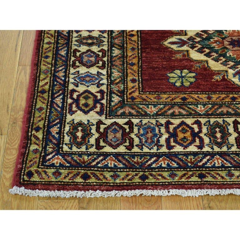 Hand Knotted Pure Wool Super Kazak Oriental Wide Runner Rug In New Condition For Sale In Carlstadt, NJ