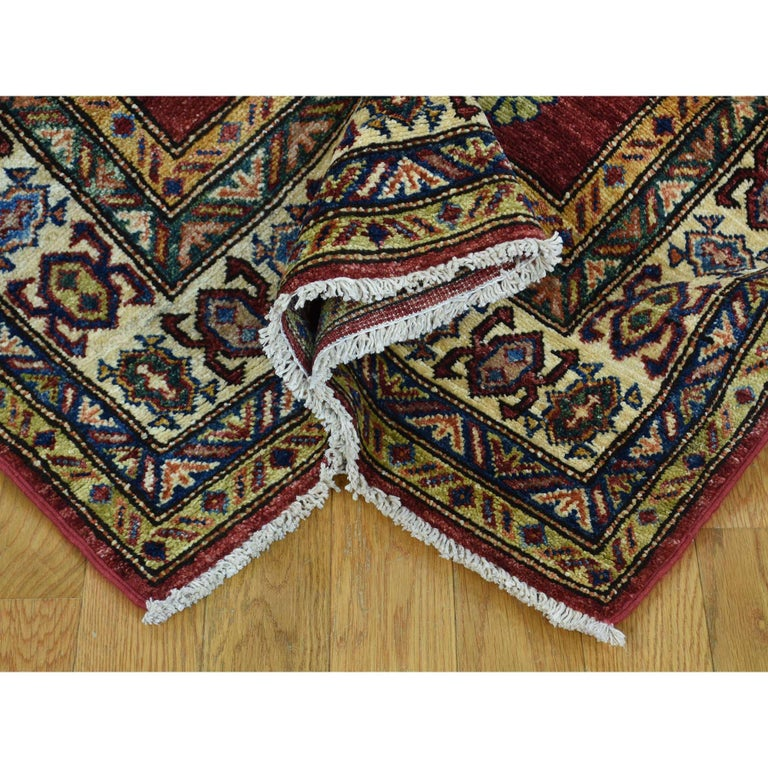 Contemporary Hand Knotted Pure Wool Super Kazak Oriental Wide Runner Rug For Sale