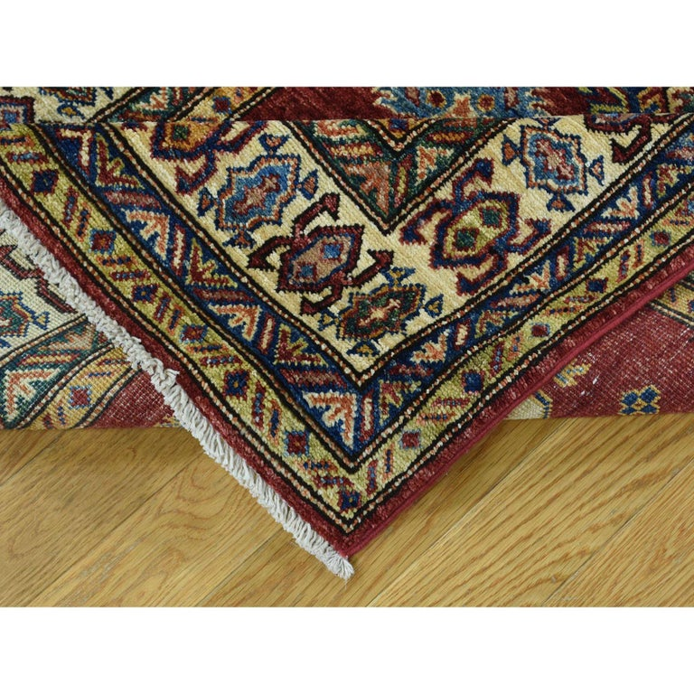 Hand Knotted Pure Wool Super Kazak Oriental Wide Runner Rug For Sale 1