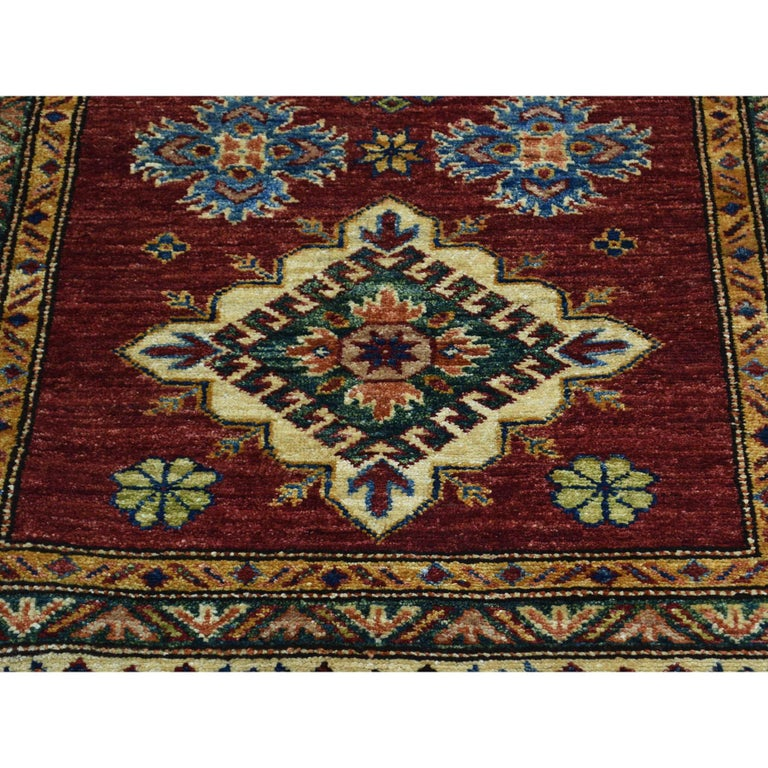 Hand Knotted Pure Wool Super Kazak Oriental Wide Runner Rug For Sale 2