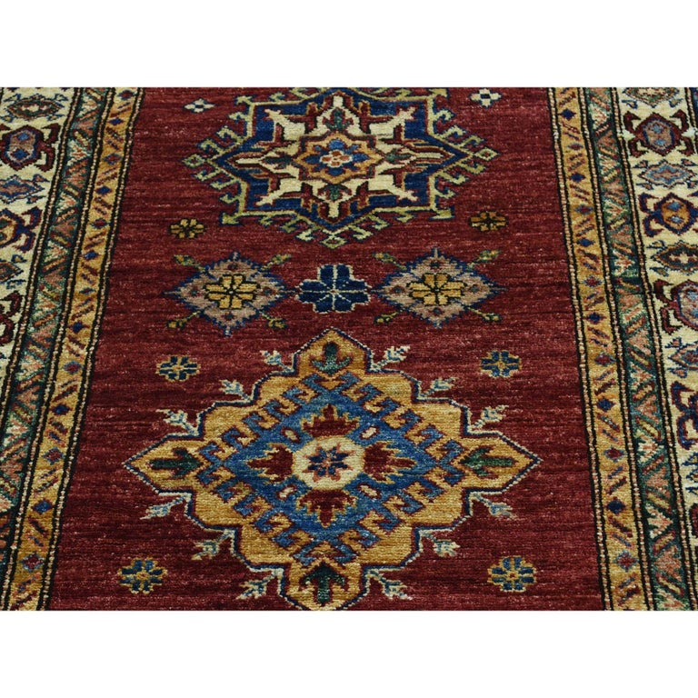 Hand Knotted Pure Wool Super Kazak Oriental Wide Runner Rug For Sale 3