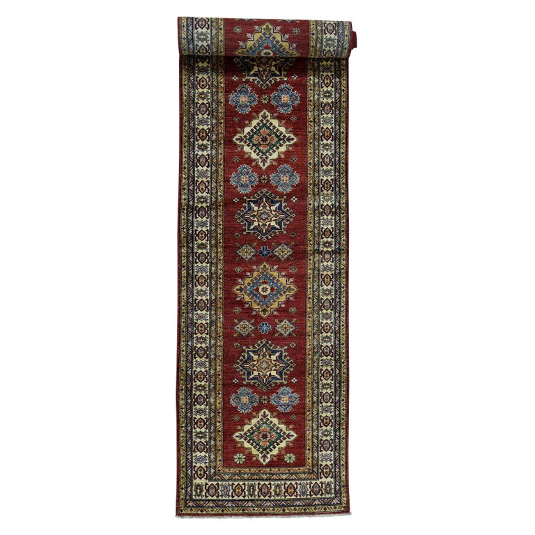 Hand Knotted Pure Wool Super Kazak Oriental Wide Runner Rug For Sale