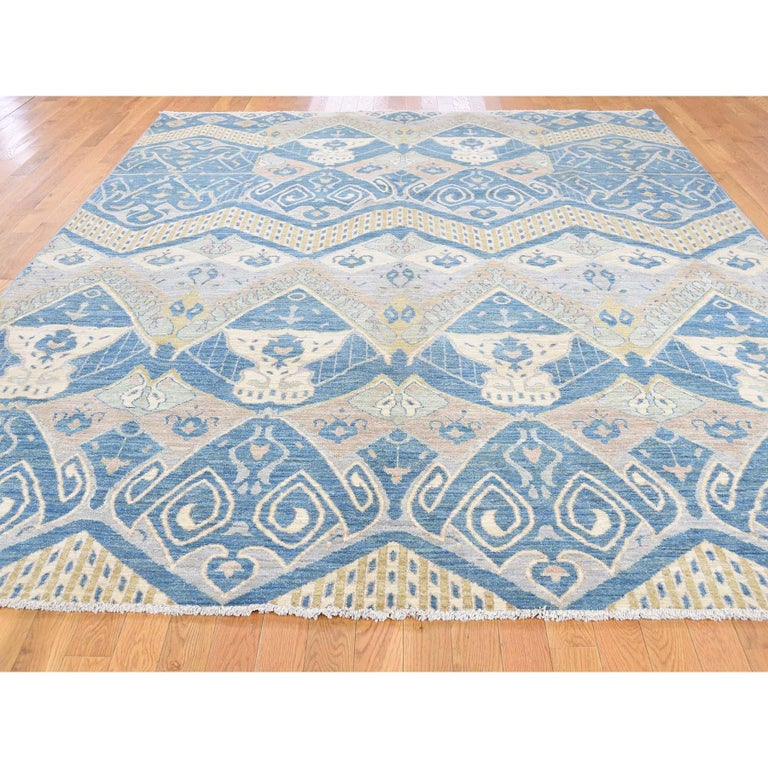 Modern Hand Knotted Pure Wool Vegetable Dyes Ikat Oriental Rug For Sale