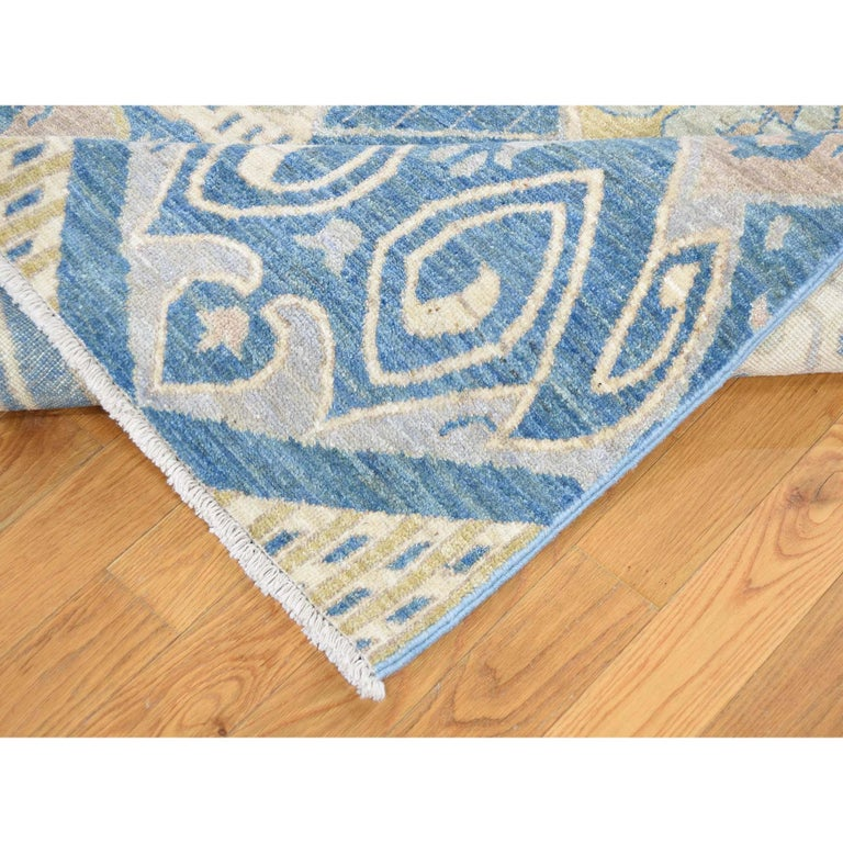Contemporary Hand Knotted Pure Wool Vegetable Dyes Ikat Oriental Rug For Sale