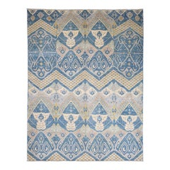 Hand Knotted Pure Wool Vegetable Dyes Ikat Oriental Rug
