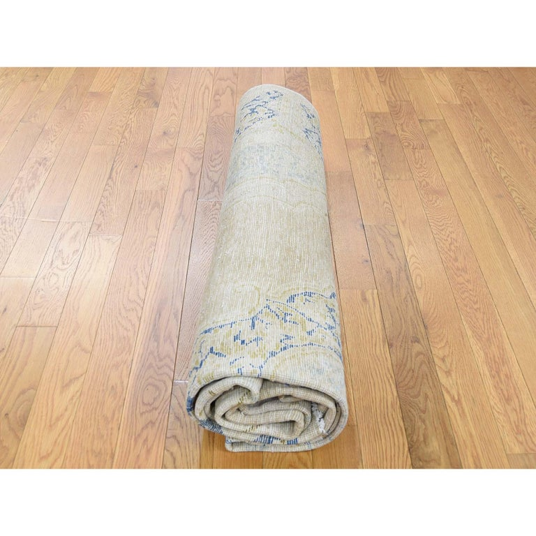 Hand Knotted Pure Wool Vintage Kerman White Wash Oriental Rug For Sale 3