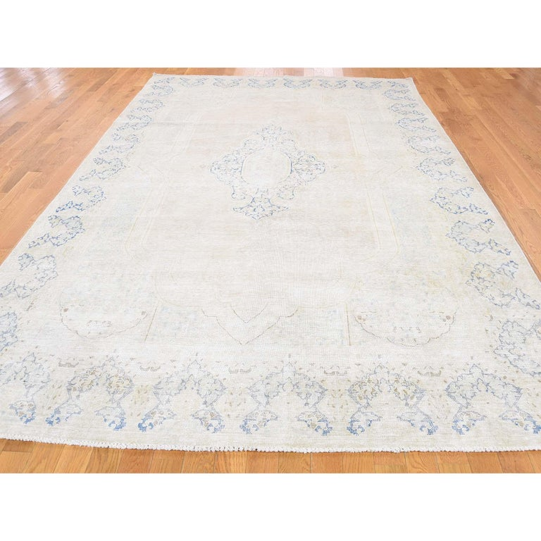 Kirman Hand Knotted Pure Wool Vintage Kerman White Wash Oriental Rug For Sale