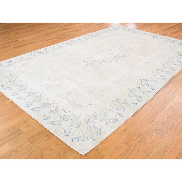 Afghan Hand Knotted Pure Wool Vintage Kerman White Wash Oriental Rug For Sale
