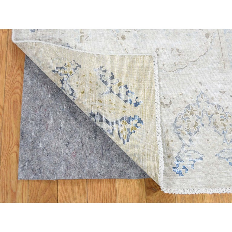 Hand-Knotted Hand Knotted Pure Wool Vintage Kerman White Wash Oriental Rug For Sale