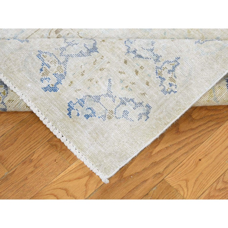 Late 20th Century Hand Knotted Pure Wool Vintage Kerman White Wash Oriental Rug For Sale