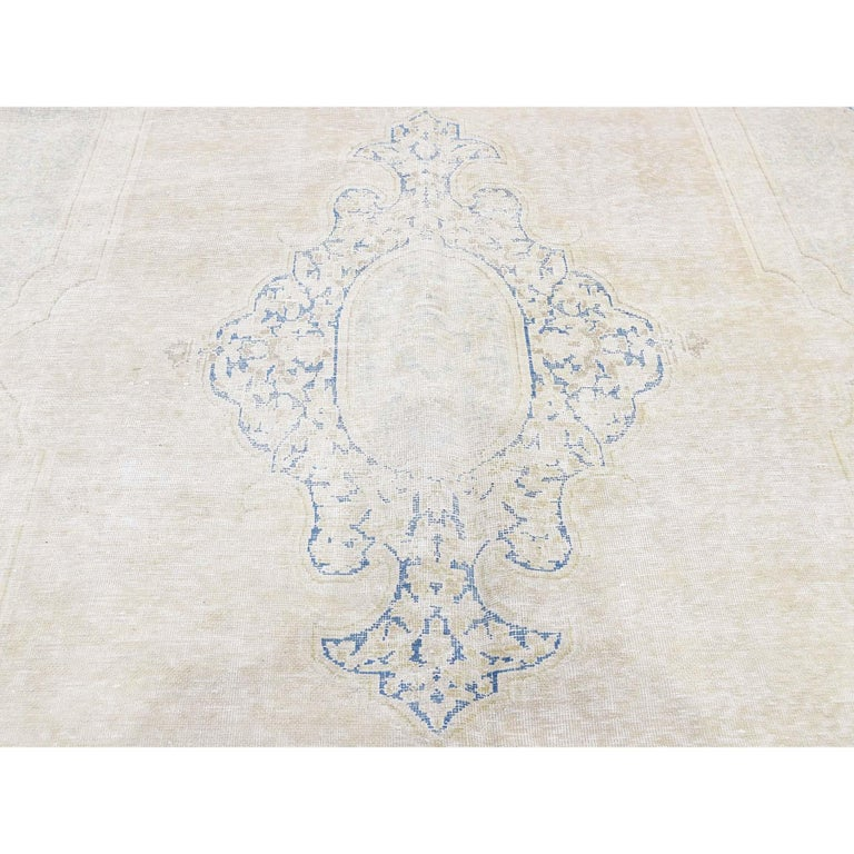Hand Knotted Pure Wool Vintage Kerman White Wash Oriental Rug For Sale 2