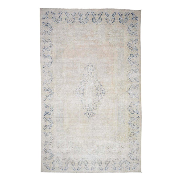 Hand Knotted Pure Wool Vintage Kerman White Wash Oriental Rug For Sale