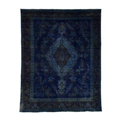 Hand Knotted Pure Wool Vintage Overdyed Persian Tabriz Rug