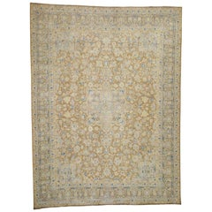 Hand Knotted Pure Wool Washed Out Kerman Oriental Rug