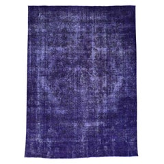 Hand Knotted Purple Overdyed Persian Tabriz Worn Rug