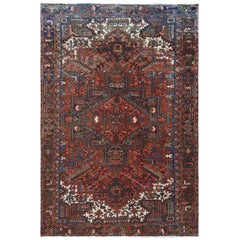 Hand Knotted Red Pure Wool Old Persian Heriz Distressed Oriental Rug