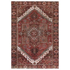 Hand Knotted Red Vintage Persian Heriz Clean Oriental Rug