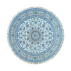 Hand Knotted Round Wool and Silk 250 Kpsi Ivory Nain Oriental Rug