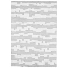 Hand Knotted Rug Aztec Ver. A in Himalayan Wool and Silk Gray