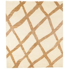 21st Century Carpet Rug Blocks in Himalayan Wool and Silk Beige, Brown