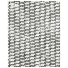 21st Century Carpet Rug Brera in Himalayan Wool and Silk White, Gray, Blue