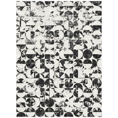 21st Century Carpet Rug Brooklyn in Himalayan Wool and Silk Black, White