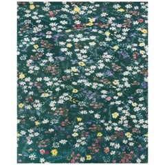 21st Century Carpet Rug Chloé in Himalayan Wool and Silk, Flowers