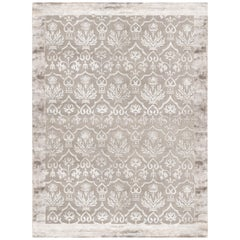 Hand Knotted Rug Damask Ver. A in Himalayan Wool and Silk Gray