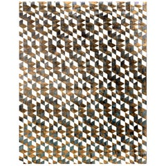 21st Century Carpet Rug Dexter in Himalayan Wool and Silk Brown, Black, White