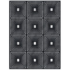 21st Century Carpet Rug Dsquare in Himalayan Wool and Silk Black, White